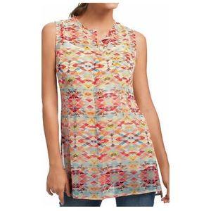 CAbi Avery Tunic #760 Sheer Aztec Print Sleeveless